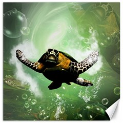 Wonderful Sea Turtle With Bubbles Canvas 16  x 16