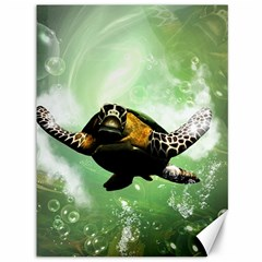 Wonderful Sea Turtle With Bubbles Canvas 36  x 48