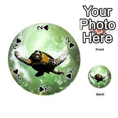 Wonderful Sea Turtle With Bubbles Playing Cards 54 (round)