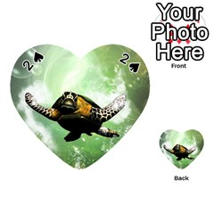 Wonderful Sea Turtle With Bubbles Playing Cards 54 (heart)