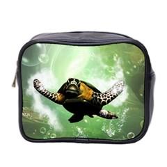 Wonderful Sea Turtle With Bubbles Mini Toiletries Bag 2-Side