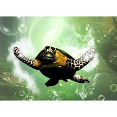 Wonderful Sea Turtle With Bubbles Birthday Cake 3D Greeting Card (7x5)