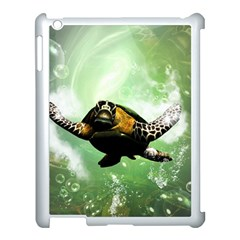 Wonderful Sea Turtle With Bubbles Apple iPad 3/4 Case (White)