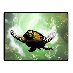Wonderful Sea Turtle With Bubbles Double Sided Fleece Blanket (Small)