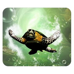 Wonderful Sea Turtle With Bubbles Double Sided Flano Blanket (small)