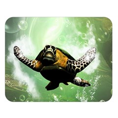 Wonderful Sea Turtle With Bubbles Double Sided Flano Blanket (Large)