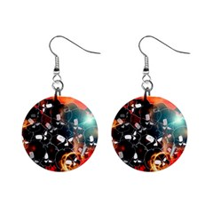 Black Skulls On Red Background With Sword Mini Button Earrings
