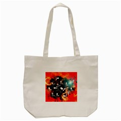Black Skulls On Red Background With Sword Tote Bag (Cream)