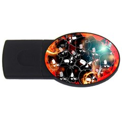 Black Skulls On Red Background With Sword USB Flash Drive Oval (4 GB)