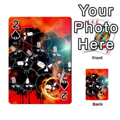 Black Skulls On Red Background With Sword Playing Cards 54 Designs