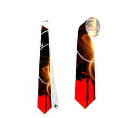 Black Skulls On Red Background With Sword Neckties (One Side)