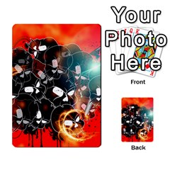 Black Skulls On Red Background With Sword Multi Purpose Cards (rectangle)
