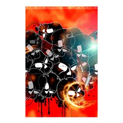 Black Skulls On Red Background With Sword Shower Curtain 48  X 72  (small)