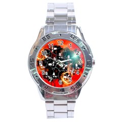 Black Skulls On Red Background With Sword Stainless Steel Men s Watch