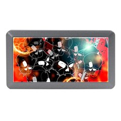 Black Skulls On Red Background With Sword Memory Card Reader (Mini)