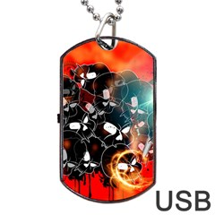 Black Skulls On Red Background With Sword Dog Tag USB Flash (Two Sides)