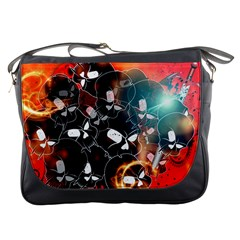 Black Skulls On Red Background With Sword Messenger Bags