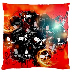 Black Skulls On Red Background With Sword Large Cushion Cases (One Side)