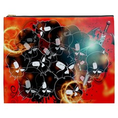 Black Skulls On Red Background With Sword Cosmetic Bag (XXXL)