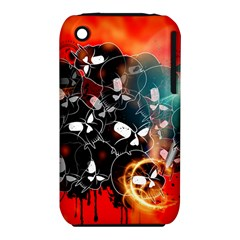Black Skulls On Red Background With Sword Apple iPhone 3G/3GS Hardshell Case (PC+Silicone)