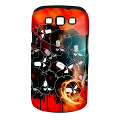 Black Skulls On Red Background With Sword Samsung Galaxy S III Classic Hardshell Case (PC+Silicone)