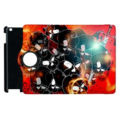 Black Skulls On Red Background With Sword Apple iPad 3/4 Flip 360 Case