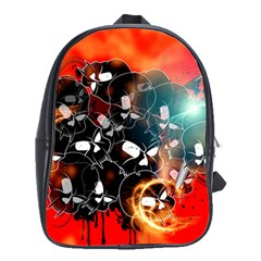 Black Skulls On Red Background With Sword School Bags (XL)