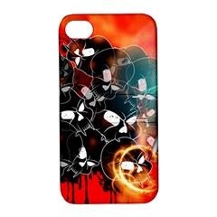 Black Skulls On Red Background With Sword Apple iPhone 4/4S Hardshell Case with Stand