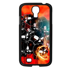Black Skulls On Red Background With Sword Samsung Galaxy S4 I9500/ I9505 Case (Black)