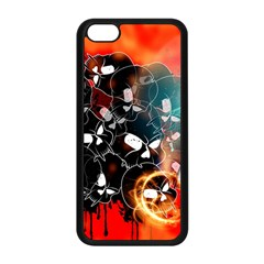 Black Skulls On Red Background With Sword Apple iPhone 5C Seamless Case (Black)