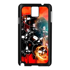 Black Skulls On Red Background With Sword Samsung Galaxy Note 3 N9005 Case (Black)