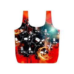 Black Skulls On Red Background With Sword Full Print Recycle Bags (S)