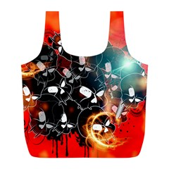 Black Skulls On Red Background With Sword Full Print Recycle Bags (L)
