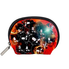 Black Skulls On Red Background With Sword Accessory Pouches (Small)