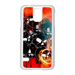 Black Skulls On Red Background With Sword Samsung Galaxy S5 Case (White)