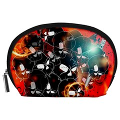 Black Skulls On Red Background With Sword Accessory Pouches (Large)