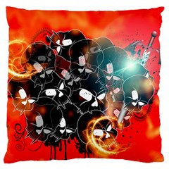 Black Skulls On Red Background With Sword Large Flano Cushion Cases (Two Sides)