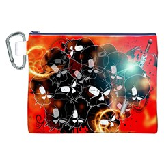 Black Skulls On Red Background With Sword Canvas Cosmetic Bag (XXL)