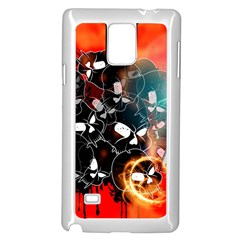 Black Skulls On Red Background With Sword Samsung Galaxy Note 4 Case (White)