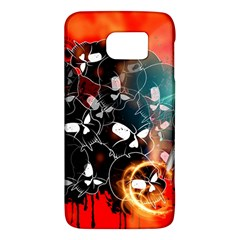 Black Skulls On Red Background With Sword Galaxy S6