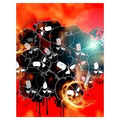 Black Skulls On Red Background With Sword Drawstring Bag (Large)