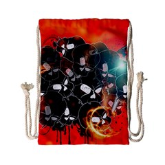 Black Skulls On Red Background With Sword Drawstring Bag (small)
