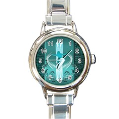 Snowboarder With Snowboard Round Italian Charm Watches