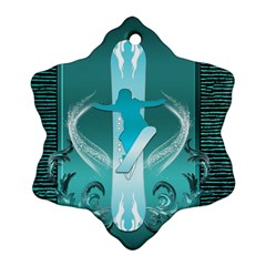 Snowboarder With Snowboard Snowflake Ornament (2-Side)