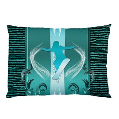 Snowboarder With Snowboard Pillow Cases (Two Sides)