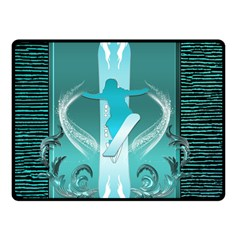 Snowboarder With Snowboard Double Sided Fleece Blanket (Small)