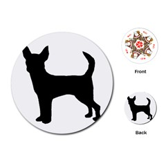 Chihuahua Silhouette Playing Cards (Round)