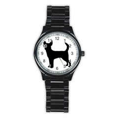 Chihuahua Silhouette Stainless Steel Round Watches