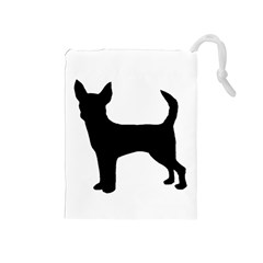 Chihuahua Silhouette Drawstring Pouches (Medium)