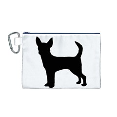 Chihuahua Silhouette Canvas Cosmetic Bag (M)